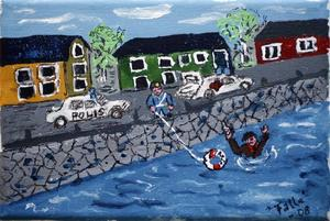 En produktiv målare är Sven-Erik Fahlander. I naivistisk stil skildrar han händelser i Gävles lokala historia.