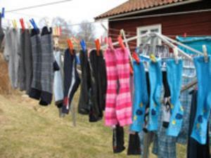 När tvätten kan torkas utomhus, då är det vår tycker Lena Tysk som bor i Gruvriset i Falun. Foto: Lena Tysk.