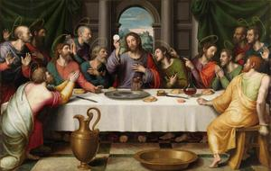 Jesus äter sin sista måltid tillsammans med lärjungarna.  Målning av Juan de Juanes från 1562.