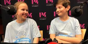 Tigra Edin och Gunnar Dalén, för Vibackeskolan. Foto: Susanne Helsing/Sveriges Radio