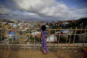 Ett flyktingläger för Rohingya-folket i Rwanda. Över 720 000 rohingyer har tvingats fly från Myanmar (Burma).