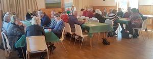 Ett 40-tals medlemmar i SPF Gagnef/Dala-Floda deltog i vårlunchen i Bodarnas bystuga. Foto: Privat