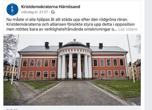 Det har inlägget publicerades på Kristdemokraternas hemsida i måndagskväll men plockades bort under onsdagen.