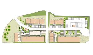 Det nya området får 58 nya lägenheter när det står klart. De höga husen kommer att stå ner mot Hagavägen.