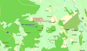 """Vid 8-tiden på söndagsmorgonen samlades flera personer i skogen för att leta efter Sally. Kartan är lånad från Facebook-eventet  """"Hitta Sally""""."""