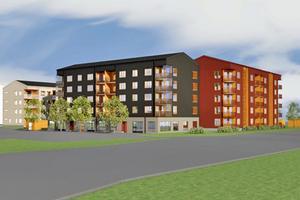 Röda och grå blir de nya husen vid Coop på Bjurhovda. Bild Cylle Kallin, E/S-A Arkitekter AB.