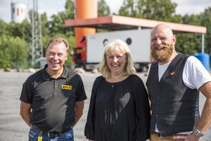 De tror på en positiv vändning i och med Yrkesförarnas Dag. Från vänster: Jan Runberg, Jale AB, Linda Lindberg, Dalafrakt AB, Martin Johansson, Maserfrakt AB.