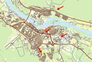 Här ligger de fyra nya områden i centrala Sollefteå som nu planeras för bostäder.