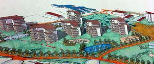 Skissen visar hur Riksbyggen tänkt att de nya terrasshusen ska byggas.