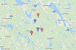 Karta: Statens Veterinärmedicinska Anstalt.Fem av de skjutna vargarna är markerade på kartan.