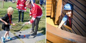 Hannes Rönnqvist till vänster tillsammans med hockeyspelaren Sebastian Ohlsson och Hilding Rombin till höger har haft mycket skoj på Sundsvalls sjukhus lekterapi.