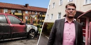 Anders Fredriksson är vd för Krylbohus, där det utanför deras fastigheter har brunnit flera bilar i år. Foto: Mimmi Sundberg/Anton Ryvang