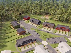 Intill de 25 nya radhusen ska det anläggas både en lekpark och en grillplats. Illustration: Obos