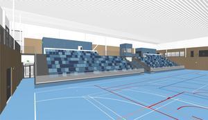 Sporthallen är på många sätt enklare att bygga än badhuset. Det är också sporthallen som först kommer att resa sig ur Krillans mylla när väggstommarna börjar byggas efter årsskiftet. Illustration: Liljewall arkitekter