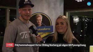 Victor Öhling Norberg intervjuas av Amelia Mauritzon. Livesändningen var en del av Mittmedias stora OS-satsning med event i stjärnornas hembyar.