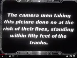 Skärmdump från Youtube ur en av tågkraschfilmerna.