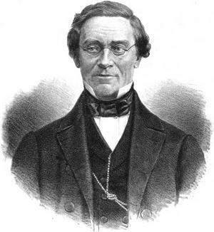 Filosofen Christofer Jacob Boström. Ur Litografisk allehanda (1865), okänd konstnär.