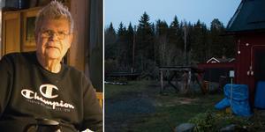 Lars Eklund berättar att det känns otryggt när det är mörkt på gården.