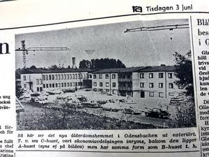 Ur NA 3 juni 1969: Ett sprillans nytt ålderdomshem var på gång i Odensbacken.
