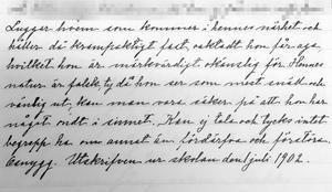 En sjuårig flicka skrivs också in på sinnesslöanstalten i Sollefteå 1901. Hennes målsman är fattigvårdsstyrelsen på orten där hon föddes.  Flickan luggar alla som kommer i hennes närhet och i journalen står det: