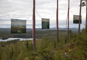 Bilder av gruvor i andra delar av Sverige och utomlands hänger som avskräckande exempel framför utsikten över Svågadalen. Foto: Michiel Brouwer