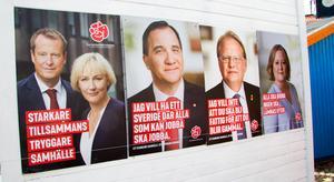 Trygga och stabila. Socialdemokraterna låter Stefan Löfven få en framtoning av landsfader.