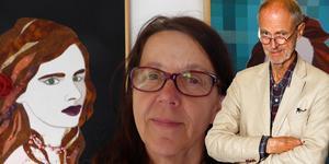 Textilkonstnären och Grisslehamnsbon Harriet Revell bredvid porträttet på skådespelaren och sångerskan Juliette Lewis.