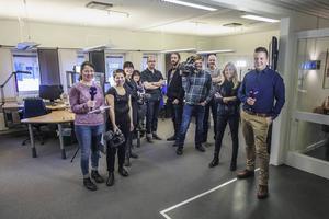Redaktionen för SVT Nyheter Gävleborg. Jimmy Roos står på tredje plats från vänster.