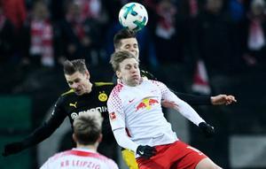 Leipzigs Emil Forsberg under lördagens match mot Borussia Dortmund. Bild: TT.