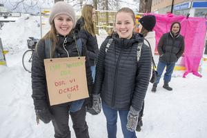 Elina Larsson från Frösön (t.v), med kompisen Tilde Svedjesten, låg bakom uppropet i sociala medier för