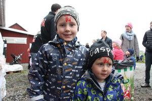 Charlie Green, 5 år, och Casper Green, 3 år, tyckte det var toppen att se på kosläpp.