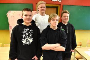 Det gäng som tidningen talade med: Isak Hahlin, Lid Gustav Olsson, Hampus Lagerberg och Emil Matsson.