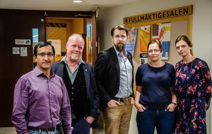 Angel Villaverde (MP), Hans Zetterkvist (V), Hans Forsberg (C), Christiane Rüdiger (V) och Liza-Maria Norlin (KD) är besvikna.