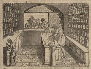 En tysk butik från sent 1600-tal. Gravyr av Wolf Helmhardt von Hohberg från 1695.