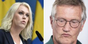 Socialminister Lena Hallengren och statsepidemiolog Anders Tegnell håller pressträff. Foto: Ali Lorestani / TT och Naina Helén Jåma / TT.