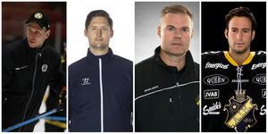 Målvaktstränarcirkusen i Brynäs går vidare. Från vänster Anders Palm, Janne Öhman, Stefan Persson och Christopher Heino-Lindberg.