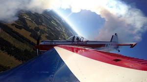 Vi gav upp att fota Per Norén från marken. Så här ser han ut från vingen taget med sin egen kamera på en uppvisning.