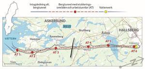 Enligt planen ska vatten tas från Vättern utanför Hargemarken sydost om Hammar och bland annat pumpas vidare norrut i en 36 kilometer lång tunnel till Håkamo öster om Hallsberg.OBS! Karbilden är liggande. Se norrpilen nere till höger.Karta: Vätternvatten AB