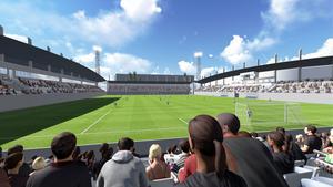 Den nya fotbollsarenan ska ha plats för cirka 6 500 besökare. Det blir 5 500 sittplatser och 1 000 ståplatser. Långsidorna kommer att ha takförsedda läktare. Eventuellt kommer även kortsidorna att ha tak.