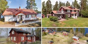 Ett montage med några av de dalaobjekt som finns med på Klicktoppen för vecka 18 och alltså fått flest klick på bostadssajten Hemnet under förra veckan. Fler bilder finns här nedanför.