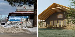 Skolan som det skissats på i Långviksmon är på 875 kvadratmeter, i ett plan. Skiss: Fuab