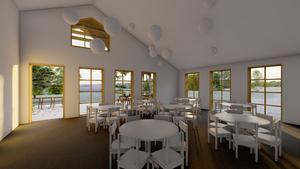 Skolan i Långviksmon ska bland annat innehålla två förskoleavdelningar, tre klassrum och matsal. Skiss: Fuab