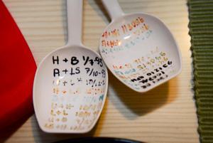 Under de första åren skrev de upp på de här skedarna vilka som varit värdinnor och var middagen varit.