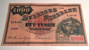 Tusenkronorssedeln som såldes för 9 900 kronor.Bild: Tradera.