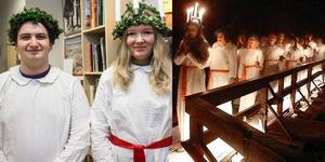 Teodor Lontos och Alma Ukkonen Widding går i Luciatåget när elever från musikkonservatoriet i Falun sjunger i Falu gruva, femtio meter under jorden.