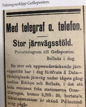 Gefleposten var tack vare ett telegram från en privatperson först ut med nyheten om kuppen, redan samma dag, 2 januari. Faksimil ur boken