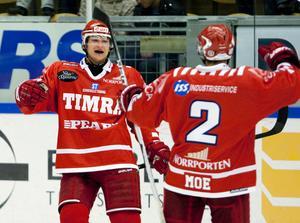 Kirill Starkov firar tillsammans med Eric Moe efter mål mot Modo i SCA Cupen.