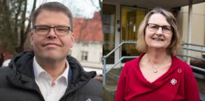 Anders Wigelsbo (C), kommunalråd i Sala, och Marie Wilén (C), kommunalråd i Heby.
