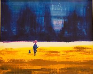 Tomas Edlund kontrasterar vintermörker mot ett intensivt ljus som omger pojken (eller tomten).
