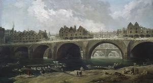 Hus rivs vid Seine 1786. Målning av Hubert Robert.